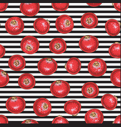 Striped seamless pattern with cranberry vector