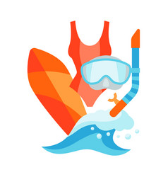 summer with surfing and diving vector image