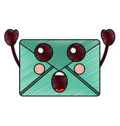 Suprised message envelope kawaii icon image vector
