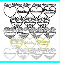 Swirly filigree wedding anniversary hearts vector