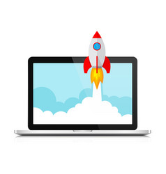 the spacecraft and laptop vector image
