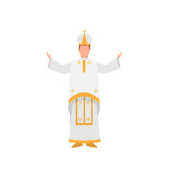 Vatican papa francisco priest in white clothes vector