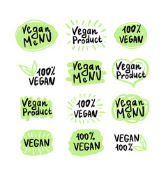 vegan logos and icons vector image