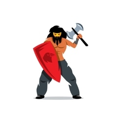 Viking warrior with ax and shield Cartoon vector image
