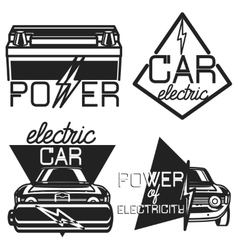 Vintage electric car emblems vector
