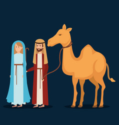 virgin mary and saint joseph with camel vector image
