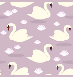 white swans seamless pattern lilac vector image