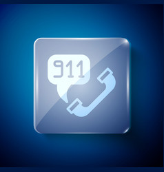 White telephone with emergency call 911 icon vector