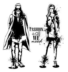 Woman and man fashion models vector