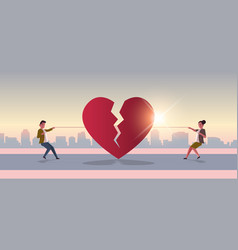 Woman man pulling rope tearing red broken heart vector