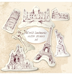 World landmark stickers vector
