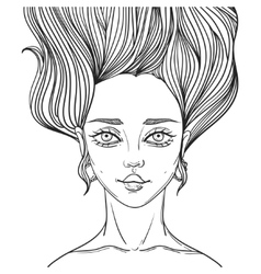 Young beautiful woman tattoo poster vector