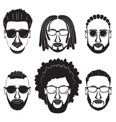 bearded african men hipsters with different vector image vector image