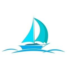 blue logo yacht on the sea vector image