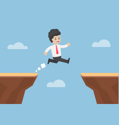 businessman jump through the gap between cliff vector image vector image