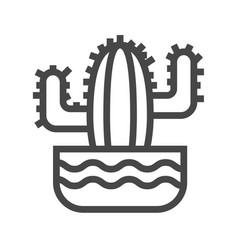 cactus thin line icon vector image vector image