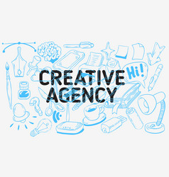 creative agency artistic cartoon hand drawn vector image vector image