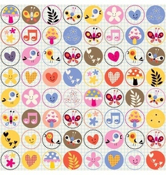cute flowers birds hearts pattern vector image vector image