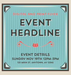 event flyer background and frame template vector image vector image