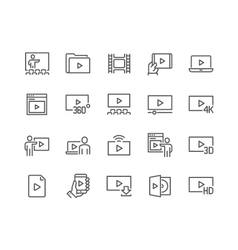 Line Video Icons vector image vector image