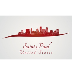 Saint Paul skyline in red vector image vector image