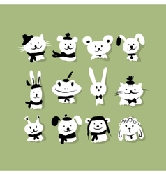 Set of funny animals for your design vector image