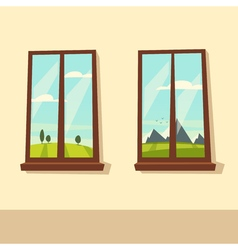 View from the windows Cartoon vector image
