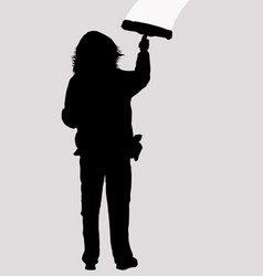 woman silhouette cleaning window with squeegee vector image