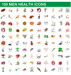 100 men health icons set cartoon style vector image