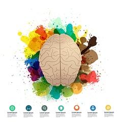 Creativity brain with watercolor splatter vector image vector image