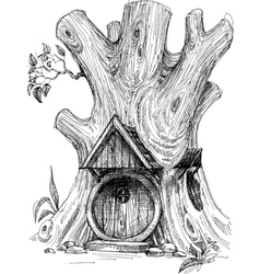 Small house in tree hollow sketch vector image vector image
