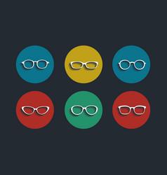 black glasses icons set on white background vector image vector image