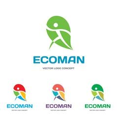 EcoMan - logo sign concept vector image
