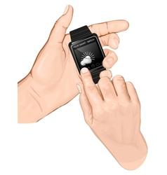 Hand hold smart-watch gesture tap vector