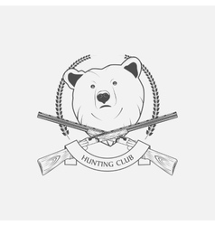 hunting icon with a bear and guns vector image