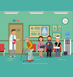 patients and disabled peoples waiting doctor in vector image