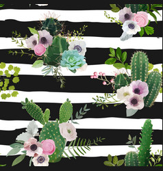 Cactus and flowers seamless pattern vector