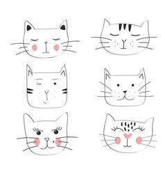 cat set hand drawn cute vector image