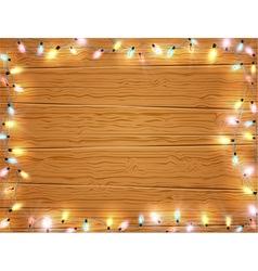 Christmas light frame christmas banner on wooden vector