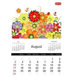 Floral calendar 2014 august vector image