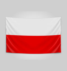 hanging flag of poland republic of poland polish vector image