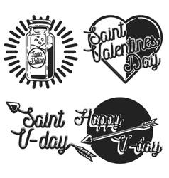 Vintage Valentines day emblems vector image vector image