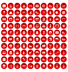 100 mask icons set red vector