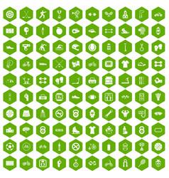 100 sport icons hexagon green vector
