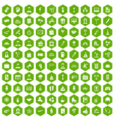 100 team building icons hexagon green vector image
