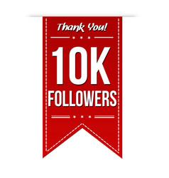 10k followers social media banner celebration vector