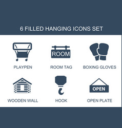 6 hanging icons vector