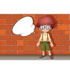 A boy and a speech bubble vector