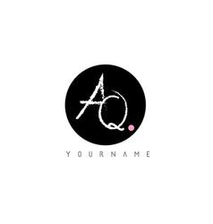 aq handwritten brush letter logo design with vector image