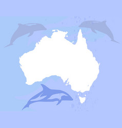 Australia with dolphins vector